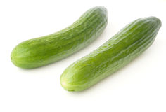 Two cucumbers. Isolated on white background Stock Photography