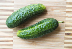 Two cucumbers Stock Photos