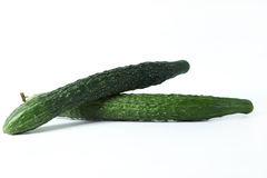 Two Cucumbers on the white background Royalty Free Stock Images