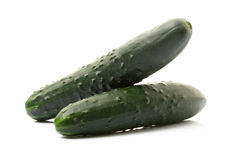 Two cucumbers in white background Royalty Free Stock Photography