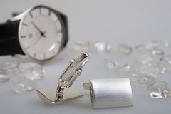 Two cufflinks with chrystals and watch Stock Image