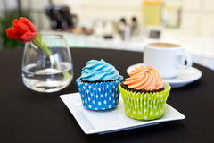 Two cup cakes in colourful paper cases on modern plate and cup o Royalty Free Stock Image