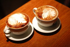 Two cup of Coffe espresso Stock Photos
