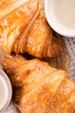 Two cup of coffee and croissants royalty free stock photography