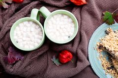 Two cup of coffee or hot chocolate with marshmallow near knitted blanket. Autumn concept. Christmas. Top view. Two cup of coffee or hot chocolate with stock photos
