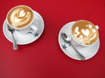 Two cup of coffee with spoon Royalty Free Stock Photography