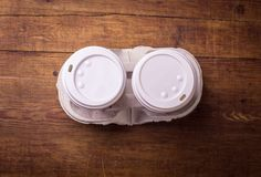 Two cup of coffee on wood table Stock Photo