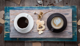 Two cup of espresso and cappuccino on   table in a vintage Val Stock Image
