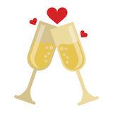 Two cup glass champagne love heart celebration Stock Photography