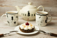 Two Cup of tea and cake  on the table Stock Photography