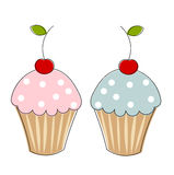 Two cupcakes. With cherries. illustration Stock Image