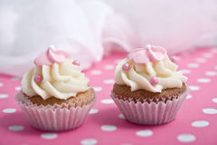 Two cupcakes. On pink background Royalty Free Stock Photos