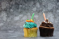 Two cupcakes with candles. Royalty Free Stock Photo
