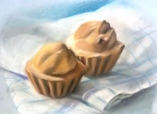 Two cupcakes on a checkered tablecloth. Still life, two delicious delicate volumetric cupcakes on a checkered tablecloth, pastel paintingnn Stock Images