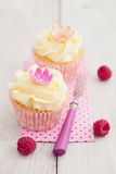 Two cupcakes. Two purple cupcakes with buttercream frosting swirl, raspberries and edible flowers royalty free stock photography