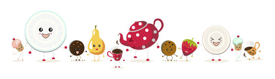 Two cupcakes, a red teapot. The illustration. Two cupcakes, a red teapot with white polka dots, two cups , two cookies, a pear,a strawberry, a plate and saucer Royalty Free Stock Images