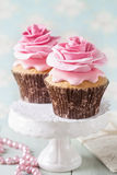 Two cupcakes with rose Stock Image