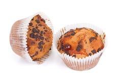 Two cupcakes on white Stock Photos