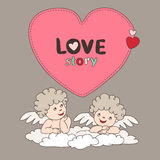 Two cupid on a cloud and bubble form heart. Stock Images