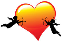 Two  cupid silhouettes with a big glossy heart Stock Photo