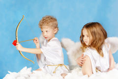 Two cupids Stock Photos
