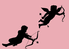 Two cupids. Silhouette with pink background stock illustration