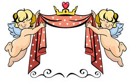 Two cupids with crown Stock Images