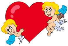Two Cupids holding heart Royalty Free Stock Image