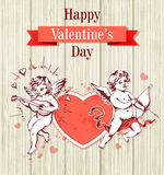 Two cupids and red heart Stock Image