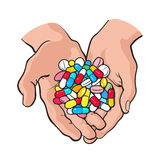 Two cupped hands holding handful, pile of colorful pills, medicine. Two cupped hands holding handful, pile of colorful pills, tablets, medicine, sketch style Stock Images