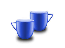 Two cups. Two blue cups on white background Royalty Free Stock Photos