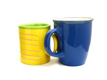 Two cups. Two colorful cups for coffee isolated on white background Stock Photo