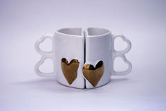 Two cups. That give a heart shape Royalty Free Stock Photo