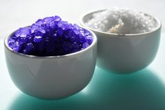 Two cups of bath salt Royalty Free Stock Image