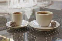 Two cups of black coffee Royalty Free Stock Photo