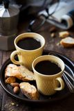 Two cups of black coffee Stock Photos