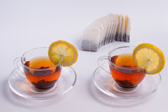 Two cups of black tea royalty free stock photos