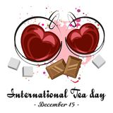 Cups of black tea. Two cups of black tea in shape of heart with chocolate and pieces of sugar on white background. International Tea Day in December 15. Vector vector illustration