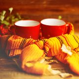 Two cups and a blanket against the window with rain drops and leaves / warming the atmosphere in the rainy time Stock Photo