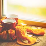 Two cups and a blanket against the window with rain drops and leaves / warming the atmosphere in the rainy time Royalty Free Stock Photography