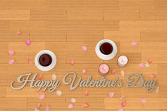 Two cups with candles and  petals on the floor. 3D illustration. Stock Photo
