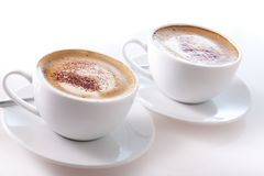 Two cups of cappuccino Stock Photography