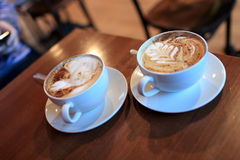 Two cups of cappuccino Stock Photo