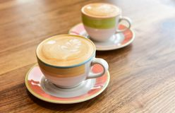 Two cups of cappuccino. stock photos