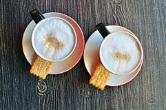 Two cups of cappucino Stock Photography
