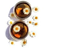 Two Cups of chamomile tea stock photo