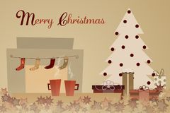 Christmas time - fireplace. Two cups with Christmas tree, presents and socks over the fireplace. Text : Merry Christmas Royalty Free Stock Photography