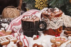 Two cups of cocoa Stock Photography