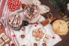 Two cups of cocoa Stock Photos