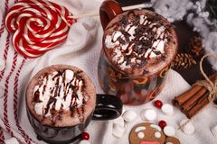Two cups of cocoa Stock Image